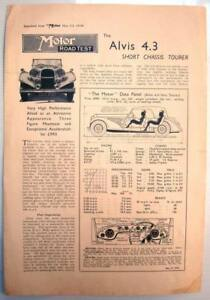 THE MOTOR ROAD TEST REPORT RE-PRINT -Alvis 4.3 Short Chassis Tourer- 23 May 1939