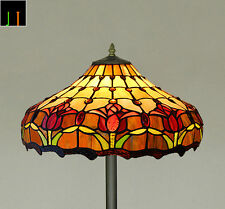 "Floor Lamp JT Tiffany 16"" Tulip Style Stained Glass Light Home Decor Leadlight"