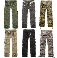 Mens Cargo pants loose fit stylish Casual pockets Camouflage Trousers