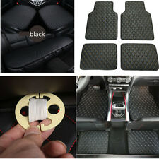 Universal Black 3x PU Leather Car Seat Cover + 4x Floor Mat Carpet Full Set New