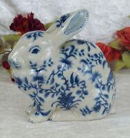 Porzellan Hase Skulptur Figur Kaninchen Craquele Jugendstil Zwiebelmuster Antik