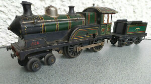 Große Bing Lokomotive mit Tender Spur 0 Blechspielzeug Blecheisenbahn