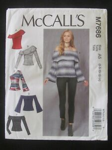 McCALL'S PATTERN - 7686 LADIES TOP OFF-THE-SHOULDER FLOUNCE ANGLE 6-14 UNCUT