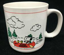 Peanuts Coffee Mug Cup Schulz Camp Snoopy Canoe Woodstock Lake Mountains White