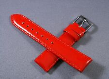 """18mm 7"""" Red Patent Genuine Leather Watch Band,Strap,Interchangeable, Woman"""