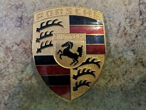 "PORSCHE Stuttgart Metal Enamel Call Out Emblem Badge Original 2 5/8"" x 2"""