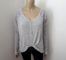Abercrombie Womens Lace Henley Camiseta Talla Pequeña Camisa Gris