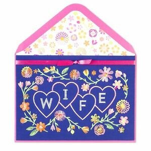 GORGEOUS Papyrus  Valentine's Day Card - Elegant Embroidered Hearts - WIFE $9.95