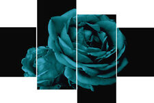 Teal Rose Black Back Flower Floral Multi 4 Panel Canvas Picture Wall Art Print