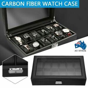 High-grade Carbon Fiber 12 Grids Watch Gift Box Storage Case Display Holder kit