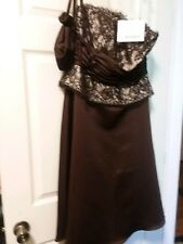 NEW size 12 BROWN and lace formal party/prom /bridesmaids gown dress w/ purse