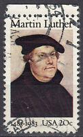 USA Briefmarke gestempelt 20c Martin Luther 1983 Rand oben Rundstempel / 3670
