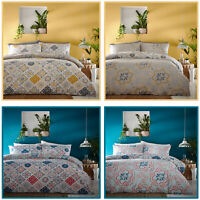 Moroccan Ethnic Ornate Floral Quilt Cover Reversible Morocco Duvet Cover Set