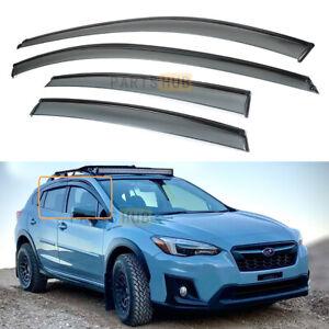 For 18-2021 Subaru XV Crosstrek Black Trim Smoke Tinted Window Visor Rain Guard