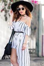 Stripes Midi Off the Shoulder Dresses for Women
