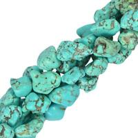 "Blue Turquoise Gemstone Beads Nugget For Jewelry Making Strand 16"" DIY"