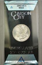 1882-CC GSA Hoard Morgan Silver Dollar $1 Coin ANACS MS-63 with Box & COA (P)