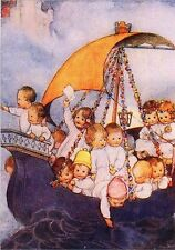 Baby Ship Babies Sailing Art Card Mabel Lucy Attwell