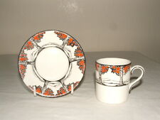 CROWN DUCAL ART DECO ORANGE TREES COFFEE CUP & SAUCER TRULY STUNNING