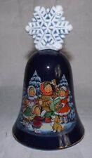 Vintage Christmas 1987 Avon Fine Collections Snowflake Caroler Bell 22k gold rim