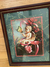 """Home Interior by D Giacono Angel with butterfly & roses 16"""" X 13"""""""