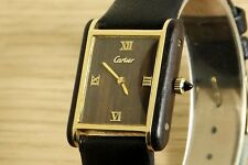 1970's VINTAGE CARTIER TANK 17J MANUAL-WINDING,  18K GOLD PLATED & WOOD.