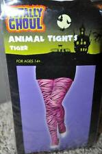 NWT-Juniors Girls Teen Pink & Black Tiger Print Animal Halloween Tights-ages 14+