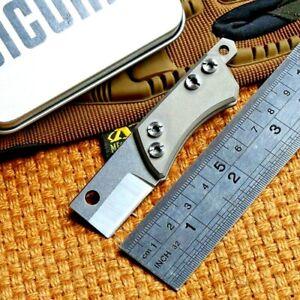 Mini Straightback Folding Knife Pocket Hunting Survival Tactical Titanium Handle