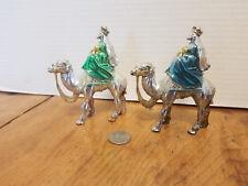 2 Mid Century Christmas NATIVITY Pieces WISEMEN KINGS Chrome Painted Plastic
