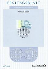 BRD 2010: Konrad Zuse! Ersttagsblatt Nr. 2802 mit Bonner Ersttags-Sonderstempel!