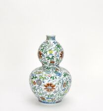 A Finely Painted Chinese Marked Doucai Double Gourd Floral Porcelain Vase