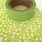Washi Tape Floral Lime Green Flowers 15mm x 10m