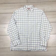 """Thomas Pink Linen Blend Check Shirt Medium 15"""" 40"""" Chest"""