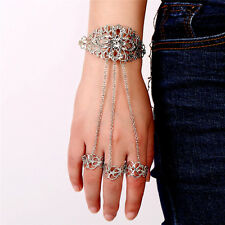 Women Crystal Finger Ring Hand Chain Gothic Hollow Carved Jewelry Bracelets