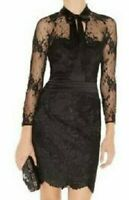 KAREN MILLEN DM150 BLACK LACE PUSSY BOW OPEN BACK PENCIL DRESS 10 (8) TWICE £210