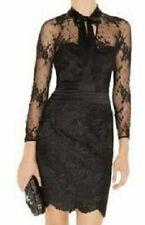 KAREN MILLEN DM150 BLACK LACE PUSSY BOW OPEN BACK PENCIL DRESS 10 (8) TWICE £210