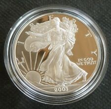 USA 1oz .999 Fine Silver Proof American Eagle One Dollar $1 2003 Boxed + COA