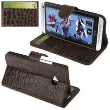 Book Tasche Croco Style für HTC One M7 Handytasche in braun mit Aufstellfunktion