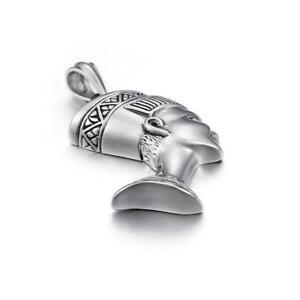 Titanium Steel Silver Pendant Egyptian Head Cleopatra Blacken 47x70mm