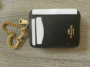 NWT COACH Zip ID Card Case With Gold Chain BLACK Leather Mini Coin Wallet