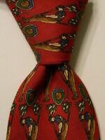 SALVATORE FERRAGAMO Men's 100% Silk Necktie ITALY Luxury GOLFING Red/Brown EUC