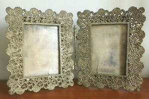 Antique Victorian Pierced Pot Metal Double Picture Frame Hinged Folding Tabletop