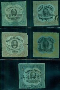 BEER STAMPS #REA38,39,62,77,79, Used w/faults as normal, hi cat, 5 different