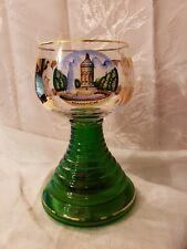 Vintage Green Thorens Music Box Glass Beehive Goblet Gold Gilded Mannheim
