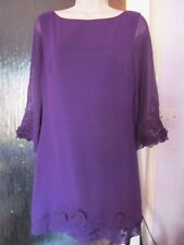 plum 3/4 sleeve mini tunic party dress size 10