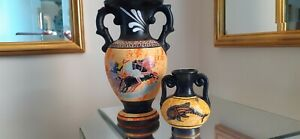 Two Complementary Rustic GREEK VASES / URNS - Made in Greece (Rhodes)