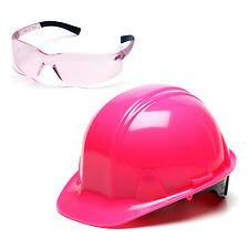 Pyramex Pink Ratchet Hard Hat & Pink Ztek Safety Glasses, HP14170 S2517SN