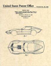 Official Corvette Mako Shark US Patent Art Print - Vintage 1966 Chevrolet  -273