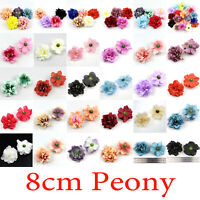 100Pcs 8cm Artificial Silk Fake Peony Flowers Floral Heads Wedding Bouquet Decor