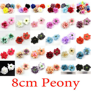100Pcs 8cm Artificial Silk Fake Peony Flowers Floral Heads Wedding Bouquet Decor